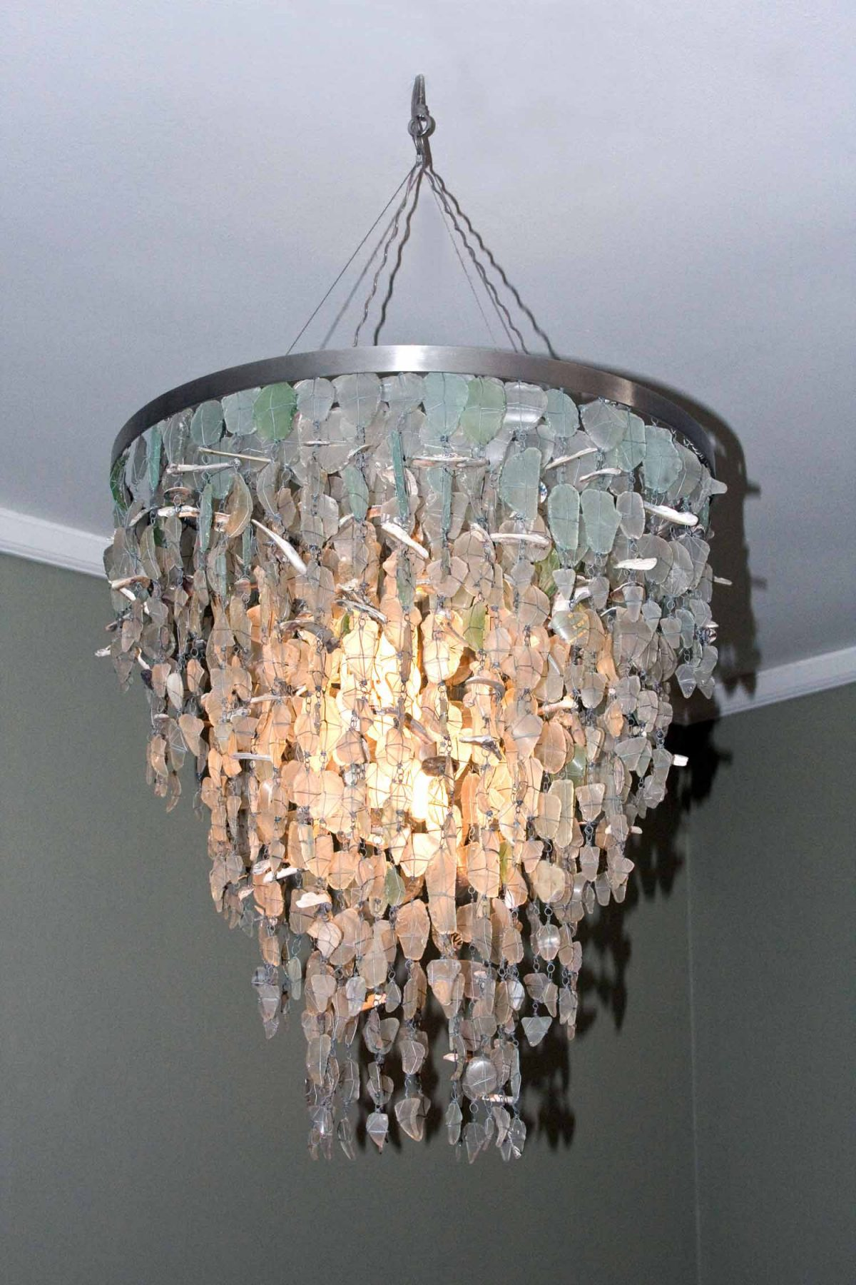 unique lighting, ceiling lights, light fixtures, recycled light fixtures, chandeliers, unique chandeliers, glass chandeliers