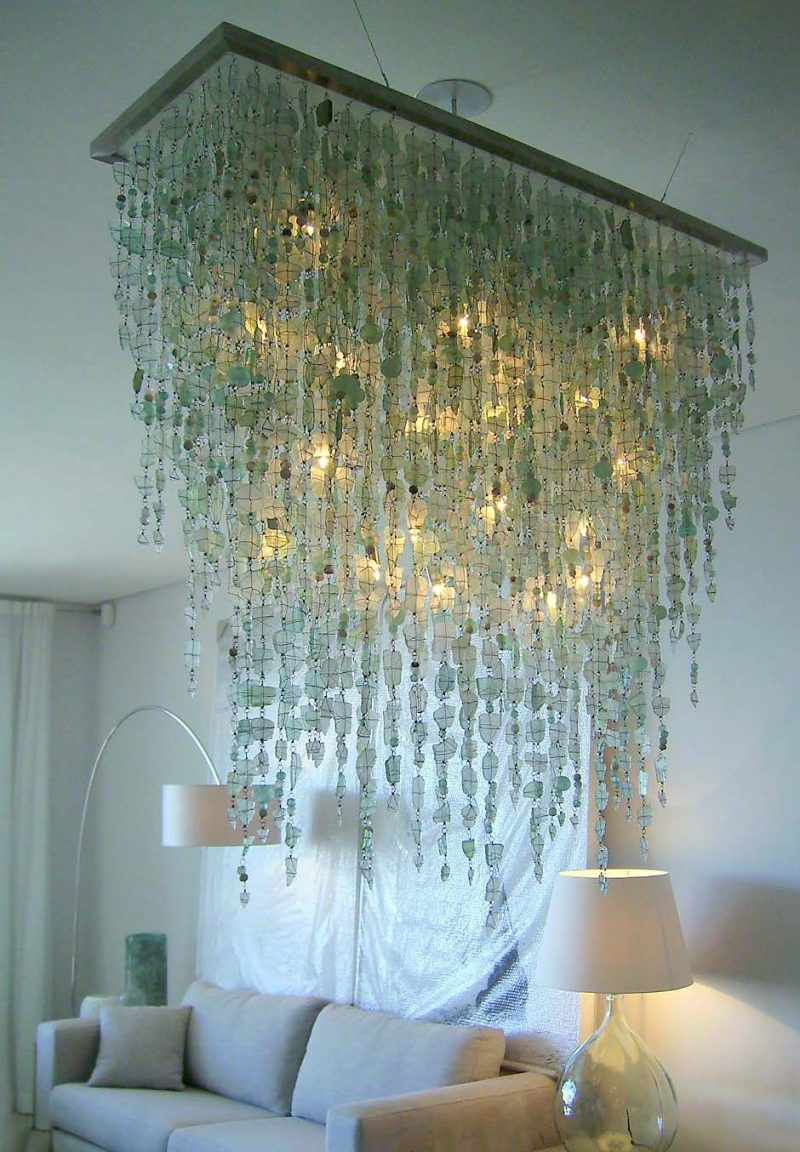 Chandelier made from recycled glass