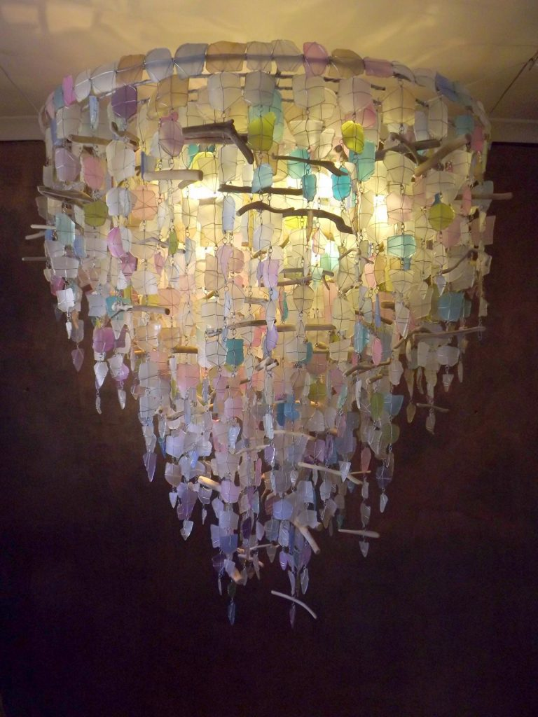 glass chandelier, recycled glass chandelier, ceiling lights, unique lighting made from glass