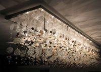unique light fixtures, recycled material light fixture, glass chandelier, art chandelier