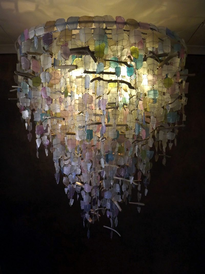 Recycled Pastel Glass Hanging Light