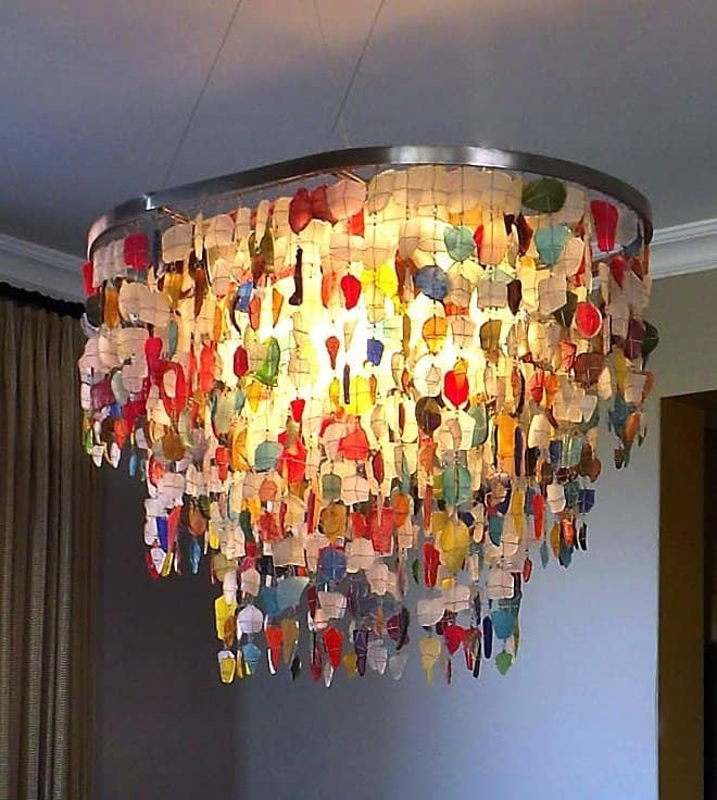Unique Lighting Multicoloured Recycled Glass & Stainless Steel Oval Frame