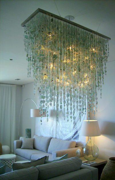 green lighting, recycled lighting, glass chandelier, unique glass chandelier unique recycled glass chandelier