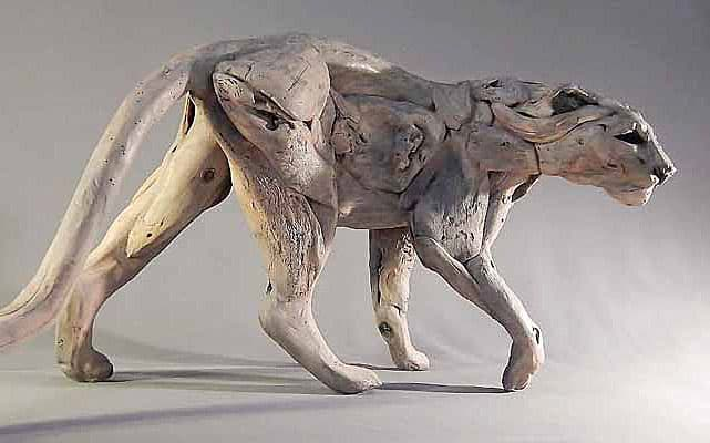 Sculptured Leopard, African Hardwood 3