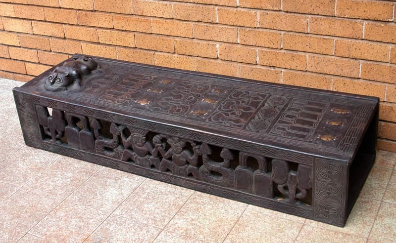 african wood bench, african tribal wood bench, african wood hand carved bed, wood hand carved african bed