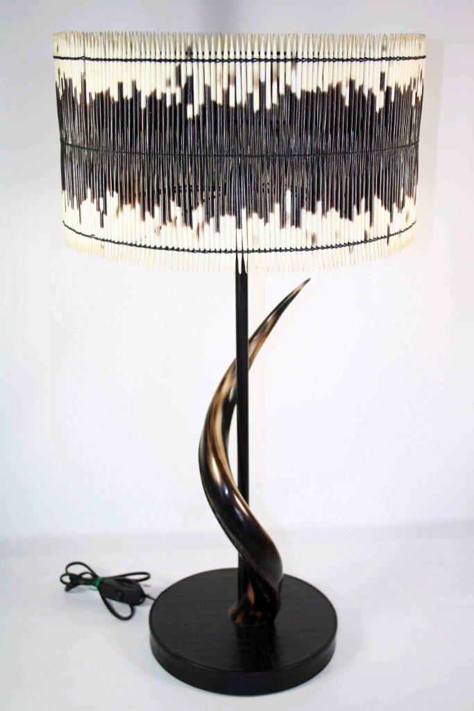 Table Lamp Drum Shade & Natural Polished Kudu Horn 6