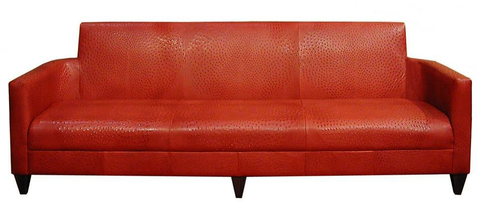 leather sofa, leather couch, ostrich skin sofa, ostrich skin couch, 3 seater sofa, 3 seater couch, unique seating, red couch, red sofa