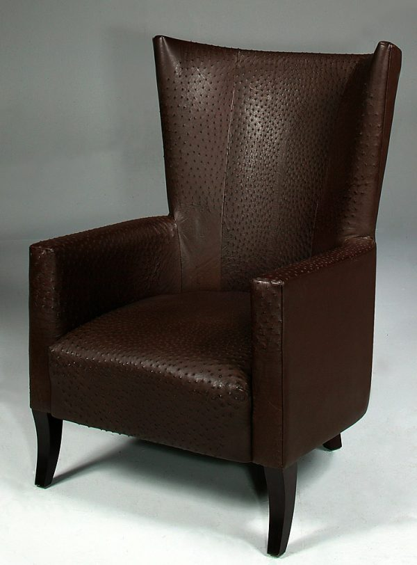 leather chair, ostrich skin chair, wingback chair, wing back chair, wing-back chair, livingroom chair, living room chair, office chair.