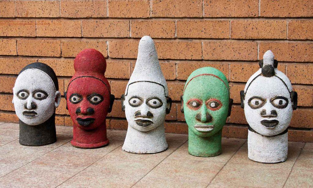 African Beaded Head Sculptures 6