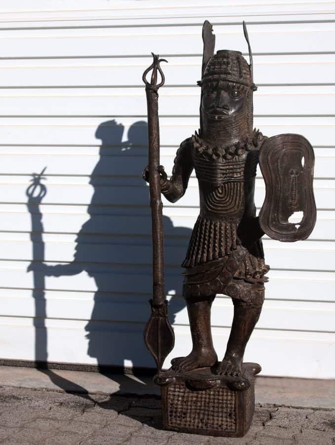 Antique bronze sculptures from Africa, bronze warrior sculpture, sculptures Africa,