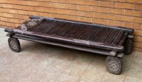 african decor, pygmy bed, african wood bed, african home decor, wood bench, african art