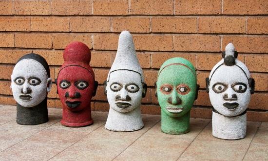 beaded African heads, Benin beaded heads, unique decor,