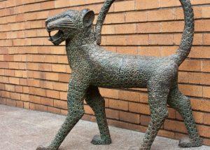african art, benin bronze, leopard