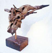 Bull Head Skull Sculpture Driftwood 2