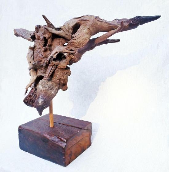 Bull Head Skull Sculpture Driftwood 8