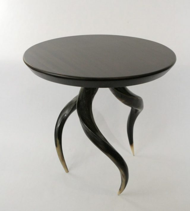 side table, wood top side table horn legs, kudu horn leg side table.