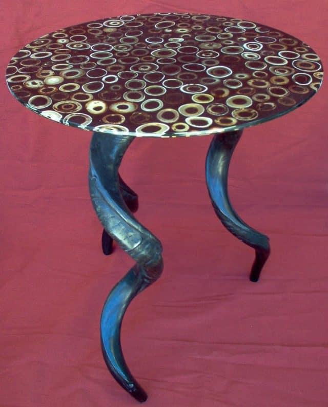 side table kudu horn legs cow bone shavings top