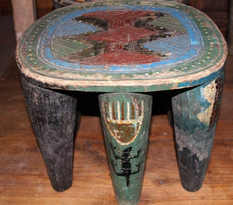 African Hand Carved Nupe Stools 7