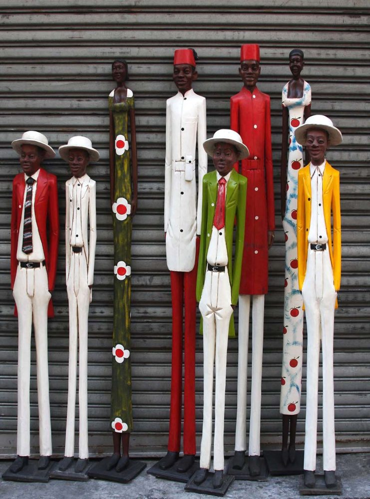 African Hand Carved Wooden Colonial Figures Phases