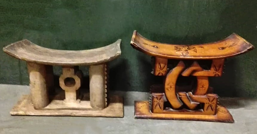 Antique Ashanti Stools│Hand Carved In West Africa