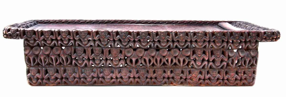 African Hand Carved Wood Bamileke Bed 6