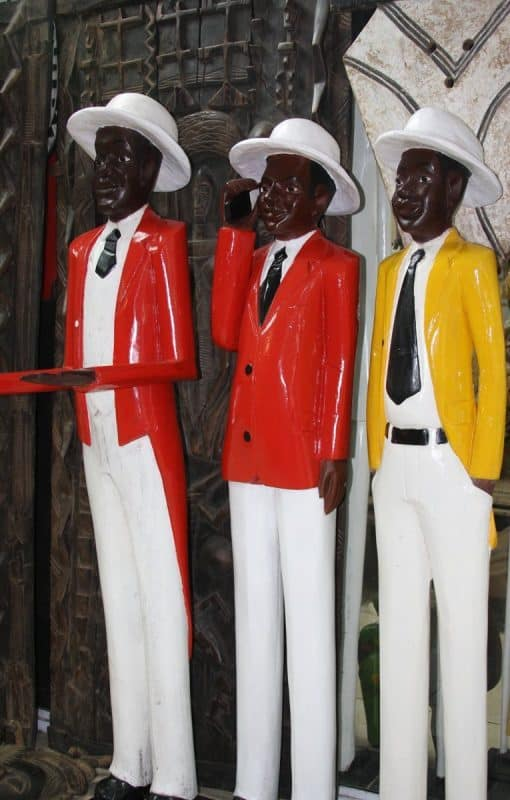 African Hand-Carved Wooden Colonial Figures 9