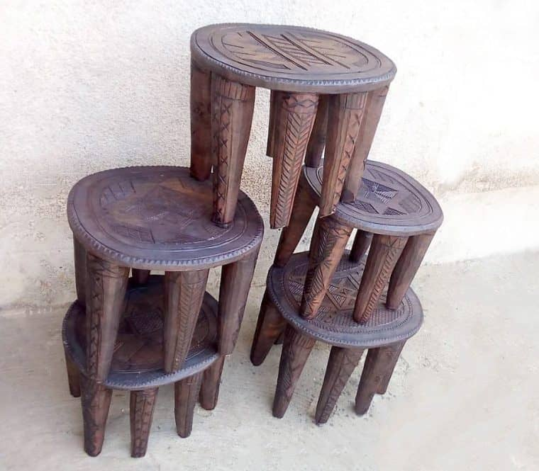 African Hand Carved Nupe Stools 6