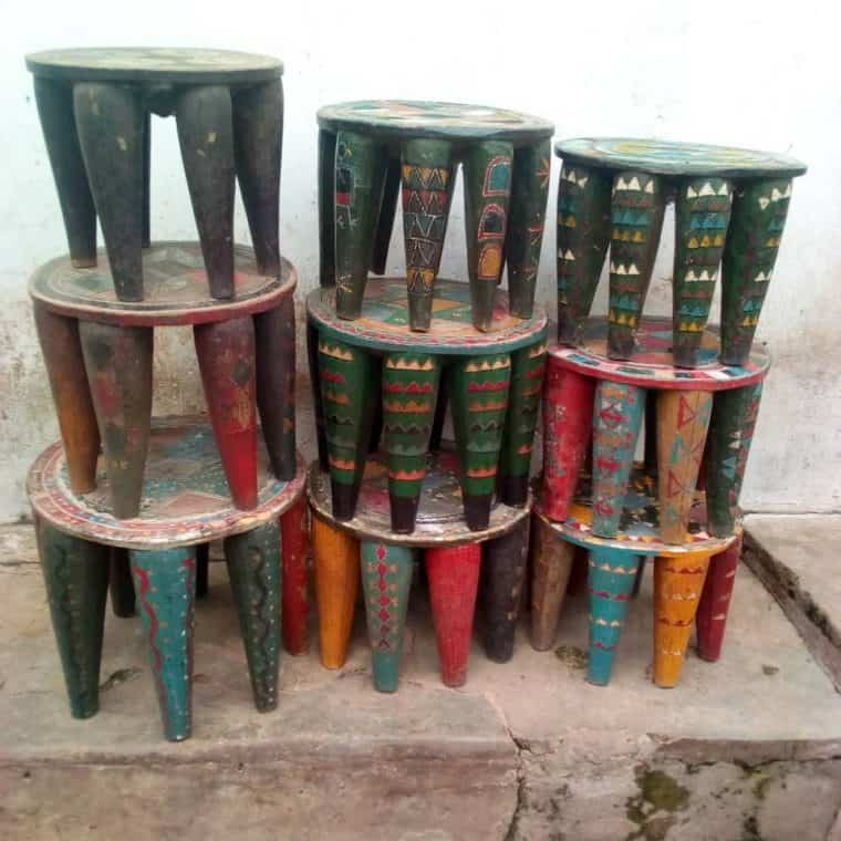 African Hand Carved Nupe Stools 8
