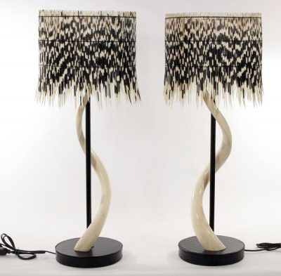 African style lighting│Phases Africal-drum-shade-and-kudu-skeletal-horn-base