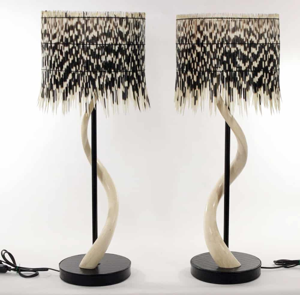 Porcupine Quill Drum Shade U0026 Kudu Skeletal Horn Base Table Lamps
