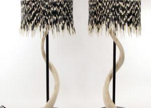 elegant porcupine quill drum shade, Kudu skeletal horn base