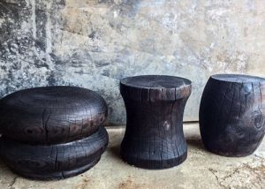 Wood-turnings, Side Tables│Burnt Finish 1