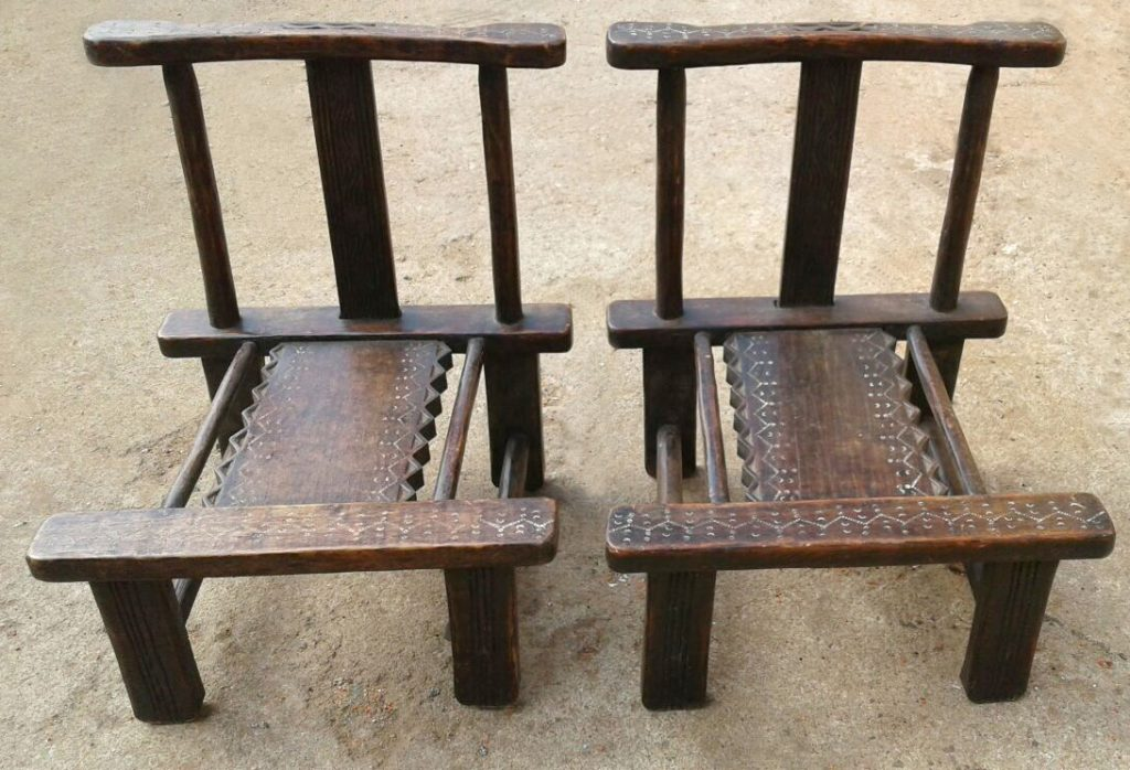 African Home Decor │Wood Baule Chairs