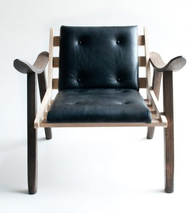 african furniture Wood and leather upholstered chair