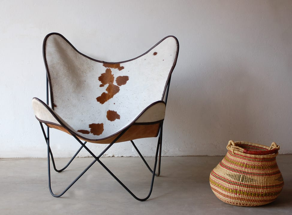 cowhide mid modern century chair
