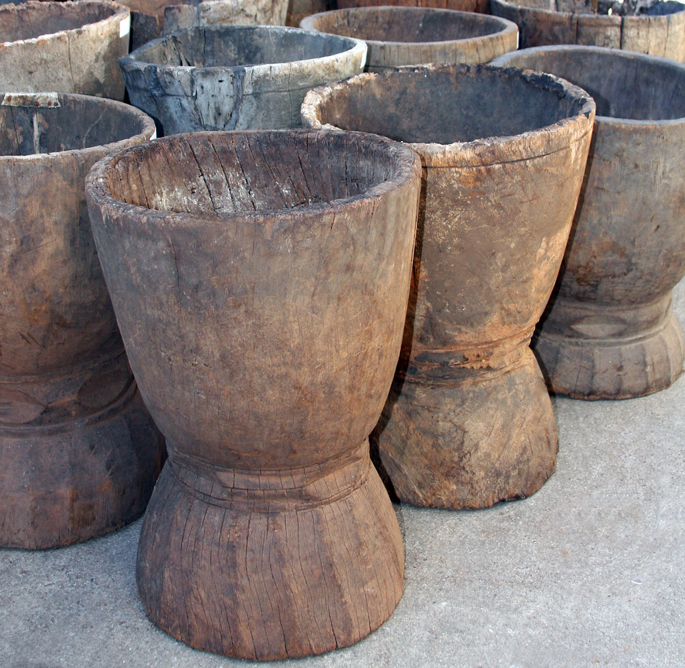 african decor, old african grain pots