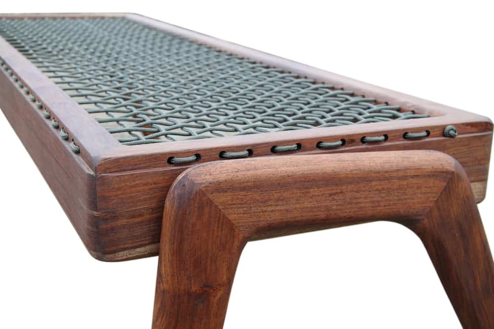 "African Style Wooden Bench with ""Riempies"" Seat 6"