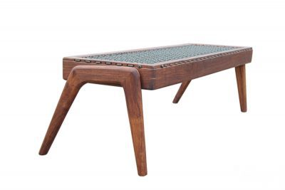 "African Furniture - African Style Wooden Bench with ""Riempies"" Seat"