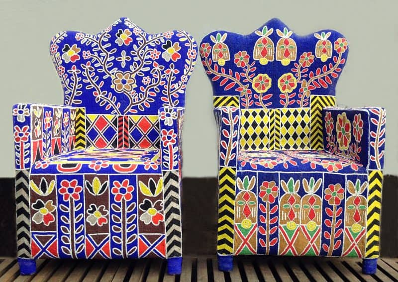 African Traditional Tribal Furniture - Yoruba Beaded Chairs