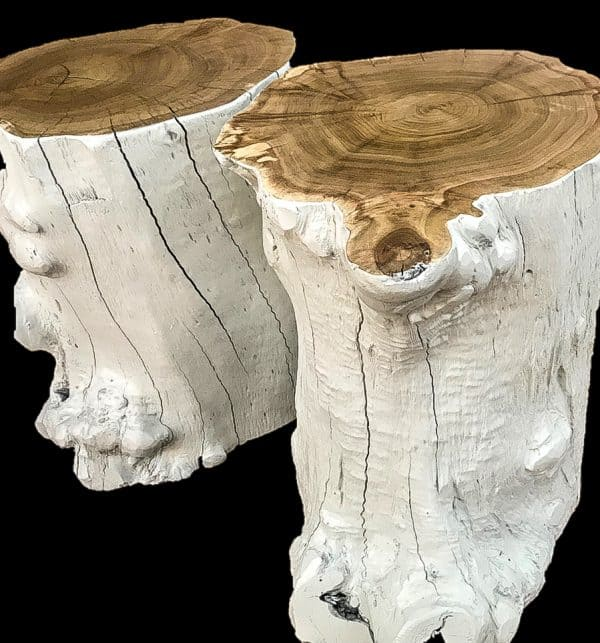 African Furniture│white wood stump side-tables