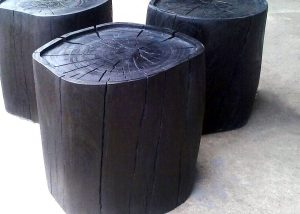 Side Tables wood-turnings scorched