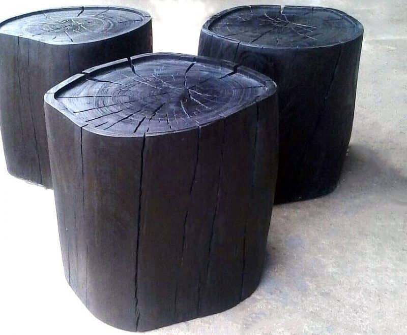 wood turnings, burnet finish, scorched finished wood turnings, black furniture, side tables, scorched wood furniture, burnt finish wood furniture