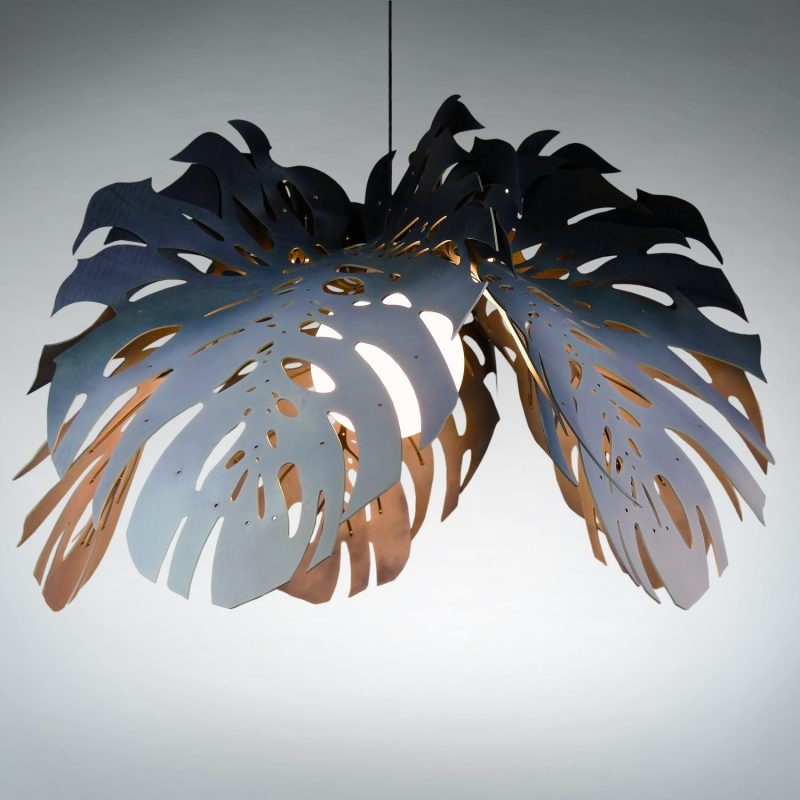 African Lighting, stainless steel & leather hanging light