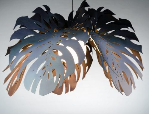 Unique Hanging, Ceiling Lights│Stainless Steel & Leather Leaves