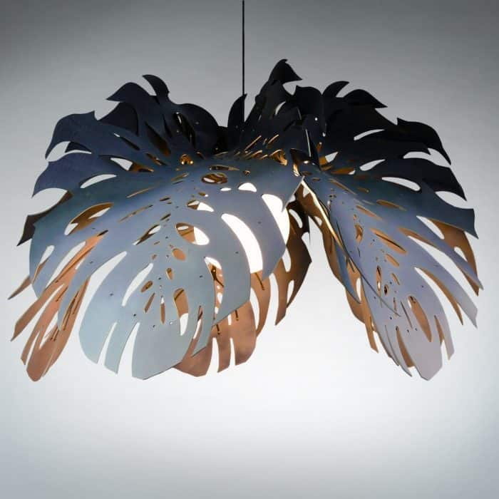 Hanging Light, stainless steel, leather