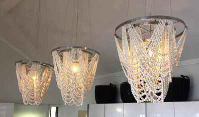 Wabi-Sabi Lighting Fixtures - Stainless Steel - Clay Beaded Chandeliers