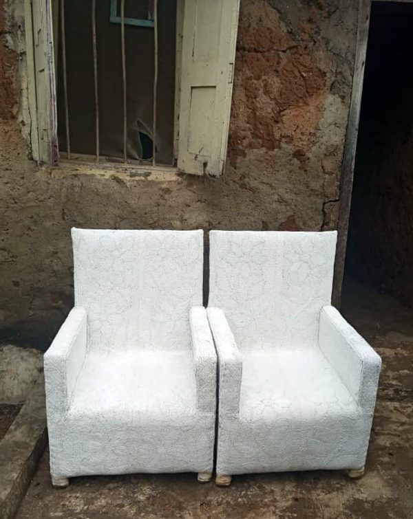 African White Beaded Arm Chairs