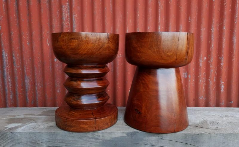 African Furniture Wood turned stools