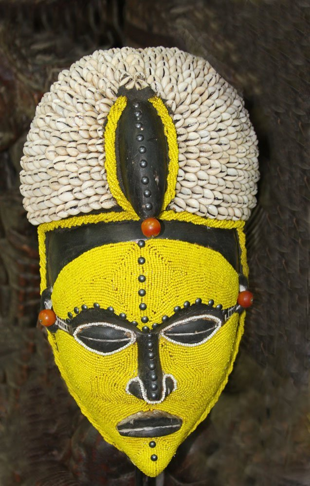 African Yellow Beaded Mask - Cowrie shells