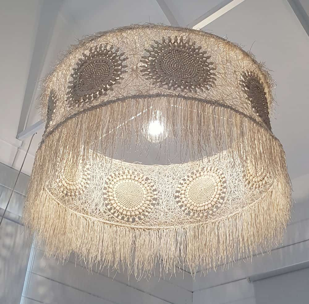UNIQUE HANDMADE LIGHTING FIXTURE│COTTON ROPE & BEADS